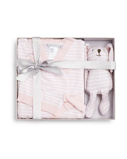 Elegant Baby - Girls' Bodysuit, Hat & Bunny Gift Set, Baby - 100% Exclusive