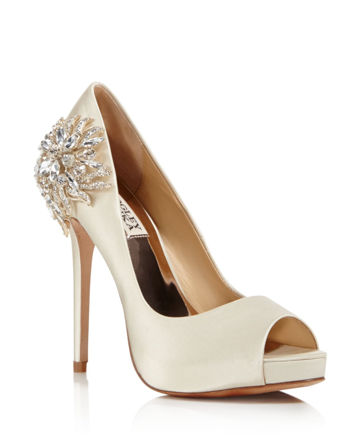 Badgley Mischka Women's Marcia Embellished Satin Peep Toe Pumps