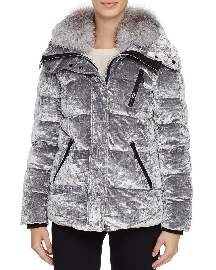 Andrew Marc Vara Fox Fur Trim Velvet Down Coat In Silver