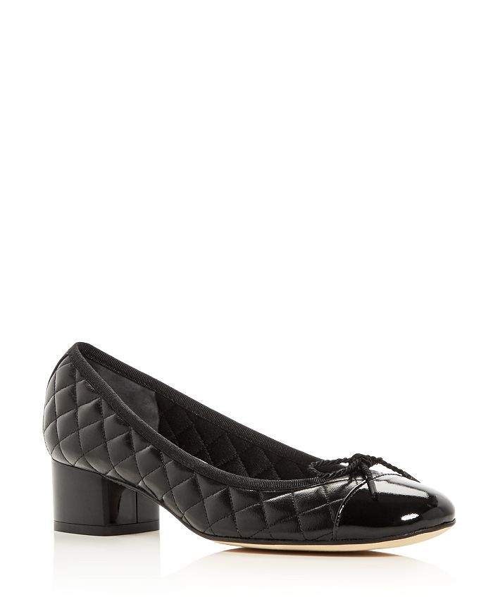 Paul Mayer - Women's Titou Quilted Leather Cap Toe Block Heel Pumps