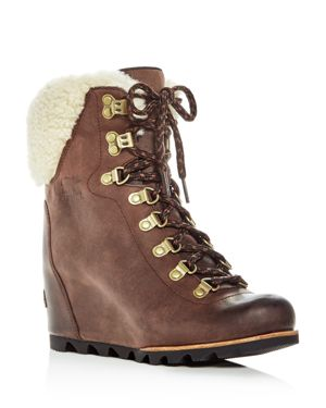 Sorel Women's Conquest Waterproof Leather & Shearling Lace Up Wedge Booties