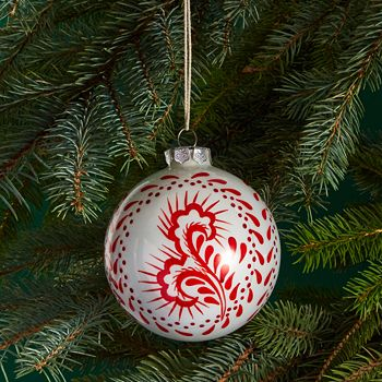 Bloomingdale's - Glass White & Red Ball Ornament - 100% Exclusive