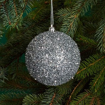 Bloomingdale's - Silver Tinsel Ball Ornament - 100% Exclusive
