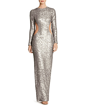 Dress the Population Laura Mesh-Inset Sequin Gown