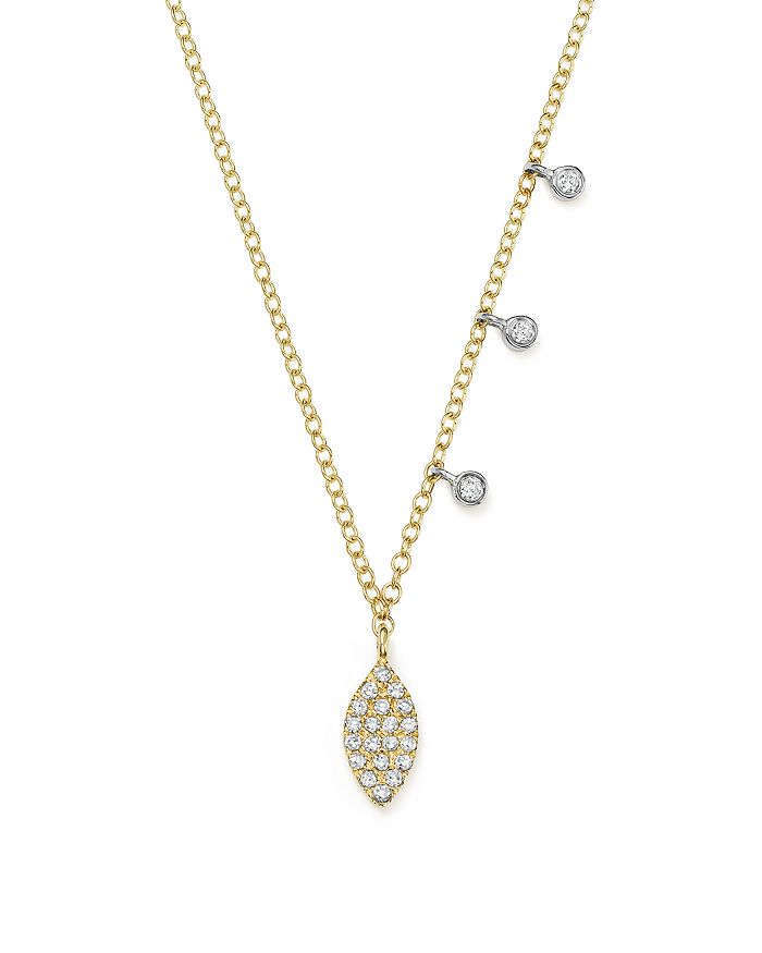 Meira T - 14K White and Yellow Gold Diamond Mini Marquis Charm Pendant Necklace, 16""