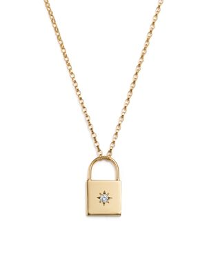 Zoe Chicco 14K Yellow Gold Padlock Pendant Necklace with Diamond, 16