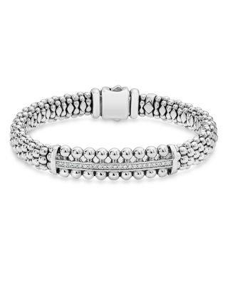 Sterling Silver Caviar Spark Diamond Bar Station Bracelet