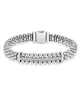 Lagos Sterling Silver Caviar Spark Diamond Bar Bracelet