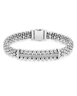 Lagos Sterling Silver Caviar Spark Diamond Bar Station Bracelet