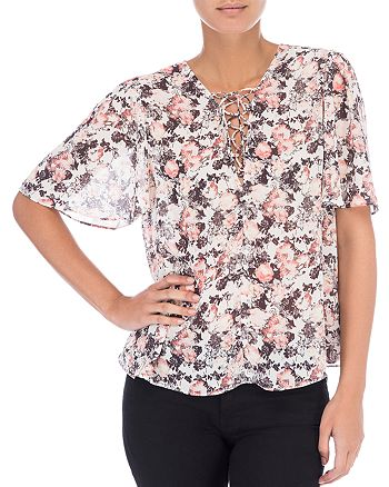 B Collection by Bobeau - Lace-Up Floral Blouse