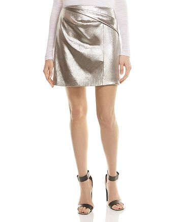 HALSTON HERITAGE - Draped Metallic Mini Skirt