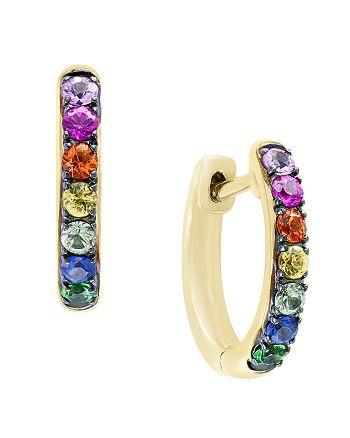 Bloomingdale's - Multicolor Sapphire and Tsavorite Hoop Earrings in 14K Yellow Gold - 100% Exclusive