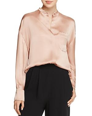 Vince Mandarin Collar Silk Blouse