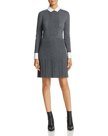 Tory Burch - Sabina Pleated Merino Wool Sweater Dress