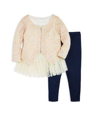 Pippa & Julie Girls' Zip-Up Sweater, Dress & Leggings Set - Baby