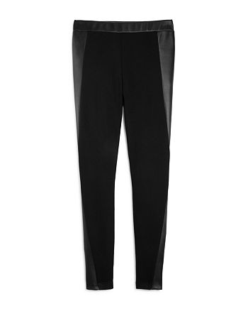 AQUA - Girls' Leggings with Faux-Leather Accents, Big Kid - 100% Exclusive