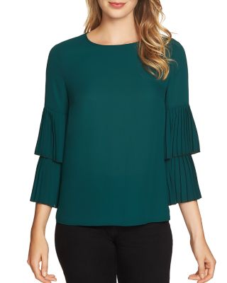 1.state  PLEATED BELL SLEEVE TOP