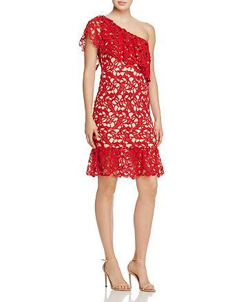 AQUA - One-Shoulder Ruffle Lace Dress - 100% Exclusive