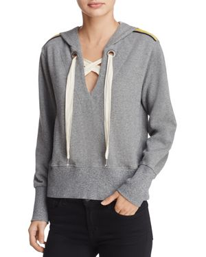 Splendid Lace-Up Hooded Sweatshirt