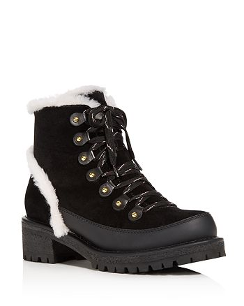 a9cc6b69e63 Tory Burch Women s Cooper Suede and Sheep Fur Lace Up Booties ...