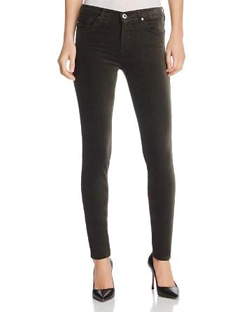 $AG Jeans Super Skinny Velvet Leggings in Climbing Ivy - Bloomingdale's