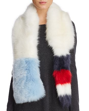 Cara New York - Striped Faux Fur Stole with Tail - 100% Exclusive