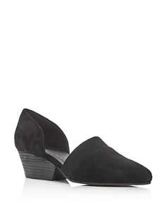 Eileen Fisher - Women's Hilly Suede d'Orsay Mid-Heel Pumps
