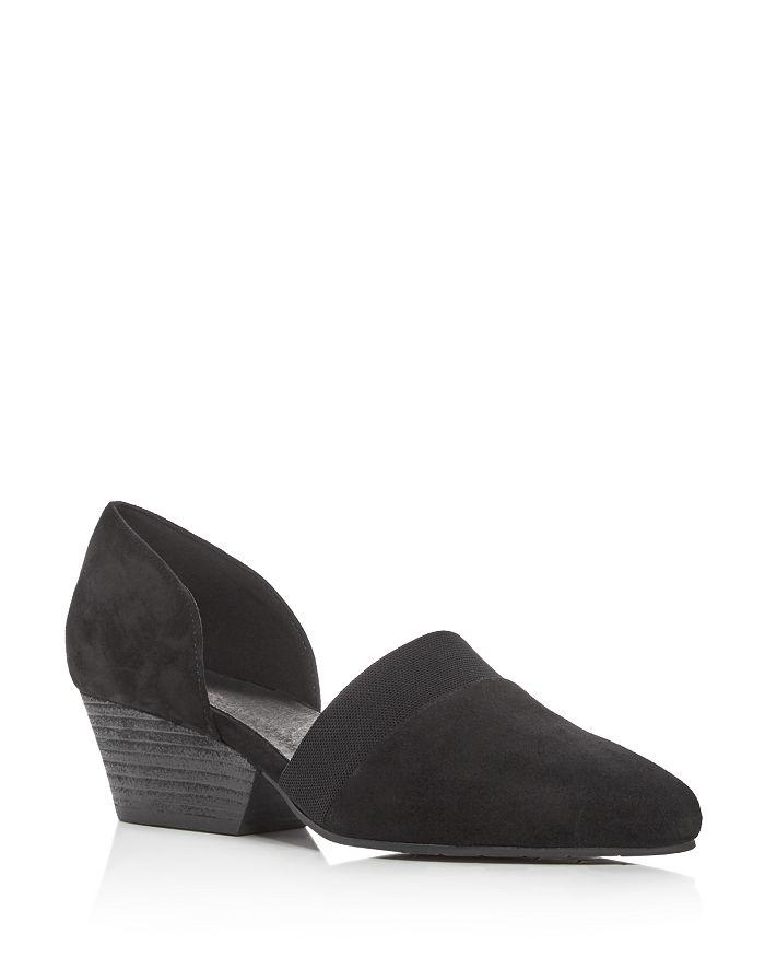 Eileen Fisher - Women's Hilly Suede d'Orsay Mid-Heel Pumps