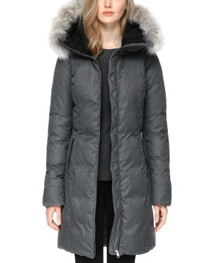 Soia & Kyo Fanya Fur Trim Funnelneck Down Coat