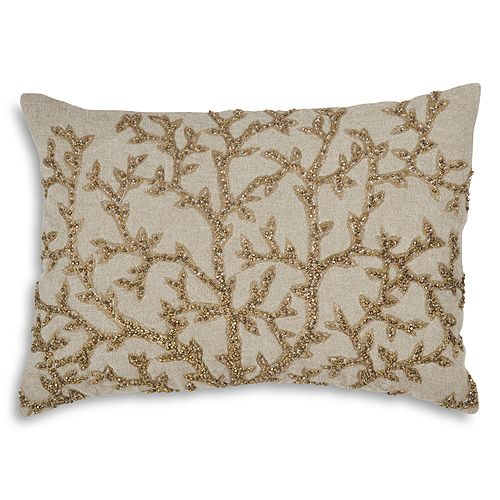 "Michael Aram - Tree of Life Beaded Linen Decorative Pillow, 14"" x 20"""