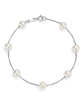 Bloomingdale's - Cultured Freshwater Pearl Station Bracelet in 14K White Gold - 100% Exclusive