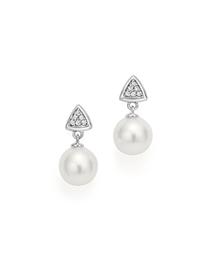 Cultured Freshwater Pearl Drop and Pave Diamond Earrings in 14K White Gold - 100% Exclusive