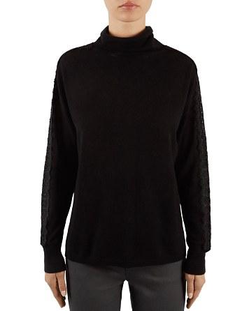 $Gerard Darel Lina Lace-Sleeve Wool & Cashmere Turtleneck - Bloomingdale's