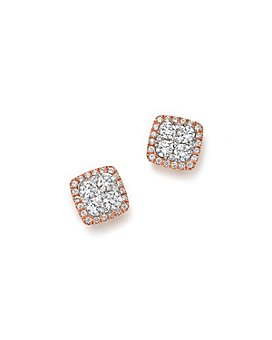 Bloomingdale's - Diamond Cluster Stud Earrings in 14K Rose Gold, 1.0 ct. t.w. - 100% Exclusive