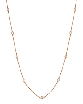 Bloomingdale's - Diamond Bezel Station Necklace in 14K Rose Gold, .70 ct. t.w. - 100% Exclusive