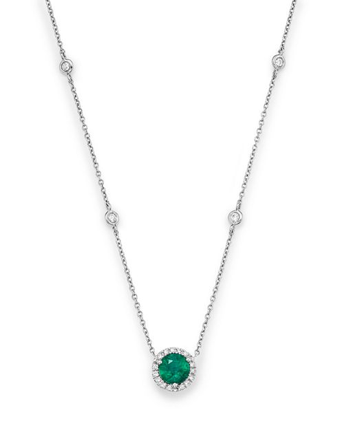 "Bloomingdale's - Emerald and Diamond Halo Pendant Necklace in 14K White Gold, 16"" - 100% Exclusive"