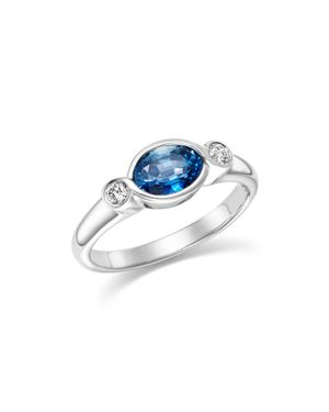 Sapphire Marquise and Diamond Bezel Ring in 14K White Gold - 100% Exclusive