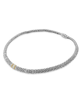 """LAGOS - 18K Gold and Sterling Silver Diamond Lux Necklace, 18"""""""