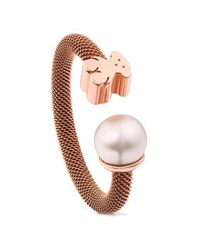 TOUS - Cultured Freshwater Pearl & Bear Open Ring