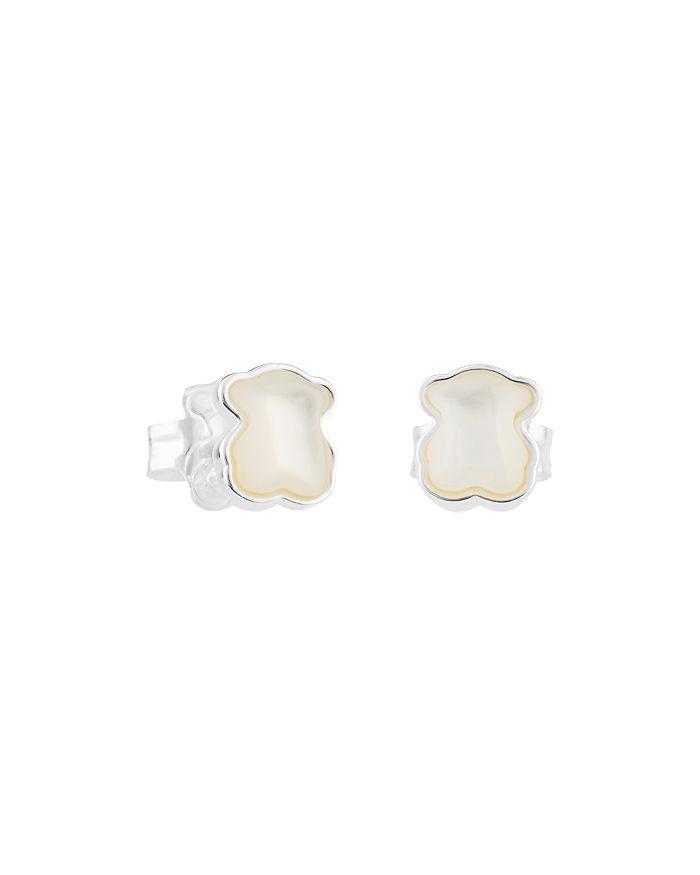 TOUS - Sterling Silver & Mother-Of-Pearl Bear Stud Earrings