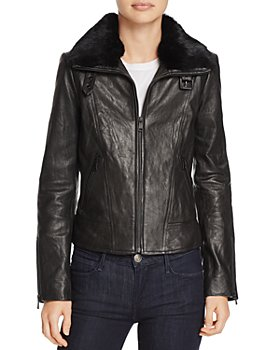 Andrew Marc - Cambridge Fur Trim Leather Jacket