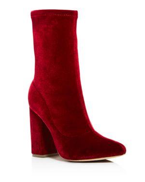 Raye Women's Faris Stretch Velvet Block Heel Booties