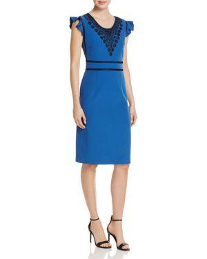 nanette Nanette Lepore Embroidered Flutter-Sleeve Sheath Dress 2837748