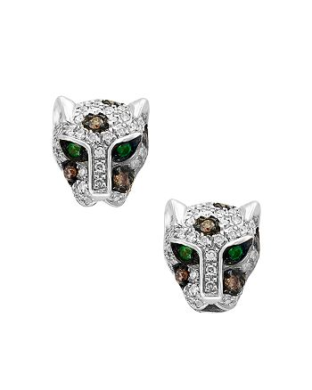 Bloomingdale's - Diamond & Tsavorite Panther Stud Earrings in 14K White Gold - 100% Exclusive