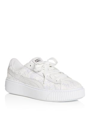 Puma Women's Basket Classic Floral Lace Lace Up Platform Sneakers