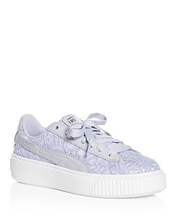 235340f008b PUMA Women s Basket Classic Floral Lace Lace Up Platform Sneakers ...