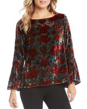 Karen Kane Bell Sleeve Floral Velvet Burnout Top