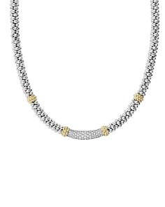 LAGOS - 18K Gold & Sterling Silver Diamond Lux Collar Necklace, 18""