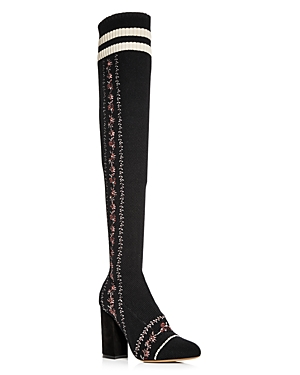Tabitha Simmons Women's Embroidered Knit Over-the-Knee Boots