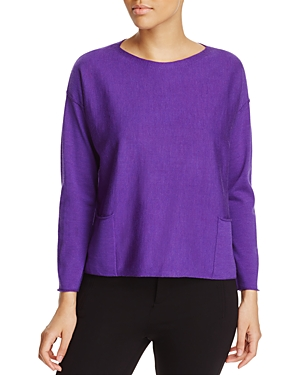 Eileen Fisher Drop Shoulder Pocket Wool Sweater